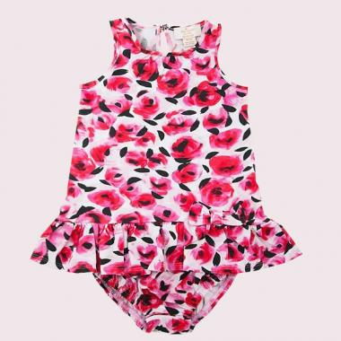 BABIES' DROP WAIST ROSE DRESS AND BLOOMER SET